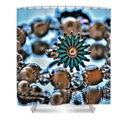 0003 Turquoise And Pearls Shower Curtain