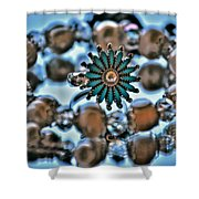 0004 Turquoise And Pearls Shower Curtain