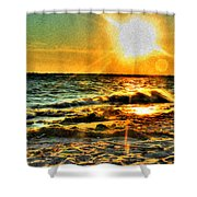 0009 Windy Waves Sunset Rays Shower Curtain
