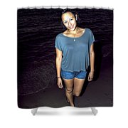 001 A Sunset With Eyes That Smile Soothing Sounds Of Waves For Miles Portrait Series Shower Curtain