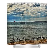 001 On A Summers Day  Erie Basin Marina Summer Series Shower Curtain