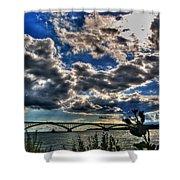 001 Peace Bridge Series II Beautiful Skies Shower Curtain
