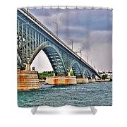 001 Stormy Skies Peace Bridge Series Shower Curtain
