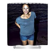 002 A Sunset With Eyes That Smile Soothing Sounds Of Waves For Miles Portrait Series Shower Curtain