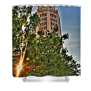 002 Electric Tower At Sunrise  Shower Curtain