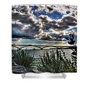 003 Peace Bridge Series II Beautiful Skies Shower Curtain