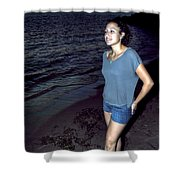 004 A Sunset With Eyes That Smile Soothing Sounds Of Waves For Miles Portrait Series Shower Curtain