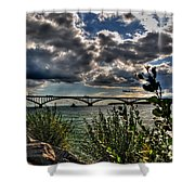 004 Peace Bridge Series II Beautiful Skies Shower Curtain