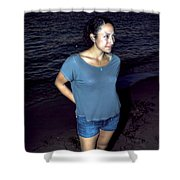 005 A Sunset With Eyes That Smile Soothing Sounds Of Waves For Miles Portrait Series Shower Curtain