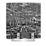 005bw On A Summers Day  Erie Basin Marina Summer Series Shower Curtain