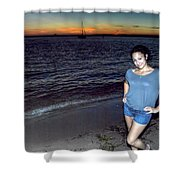 006 A Sunset With Eyes That Smile Soothing Sounds Of Waves For Miles Portrait Series Shower Curtain