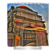006 The Hiker At Sunrise Shower Curtain