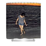 008 A Sunset With Eyes That Smile Soothing Sounds Of Waves For Miles Portrait Series Shower Curtain