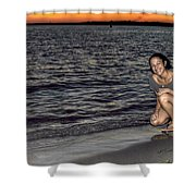 009 A Sunset With Eyes That Smile Soothing Sounds Of Waves For Miles Portrait Series Shower Curtain