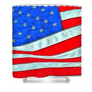01 American Flag Shower Curtain
