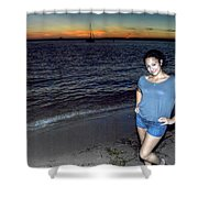 010 A Sunset With Eyes That Smile Soothing Sounds Of Waves For Miles Portrait Series Shower Curtain