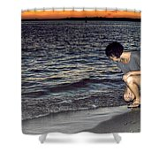 011 A Sunset With Eyes That Smile Soothing Sounds Of Waves For Miles Portrait Series Shower Curtain