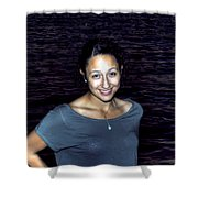 012 A Sunset With Eyes That Smile Soothing Sounds Of Waves For Miles Portrait Series Shower Curtain