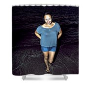 013 A Sunset With Eyes That Smile Soothing Sounds Of Waves For Miles Portrait Series Shower Curtain