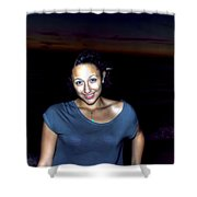 014 A Sunset With Eyes That Smile Soothing Sounds Of Waves For Miles Portrait Series Shower Curtain