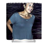 015 A Sunset With Eyes That Smile Soothing Sounds Of Waves For Miles Portrait Series Shower Curtain