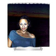016 A Sunset With Eyes That Smile Soothing Sounds Of Waves For Miles Portrait Series Shower Curtain