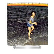 017 A Sunset With Eyes That Smile Soothing Sounds Of Waves For Miles Portrait Series Shower Curtain