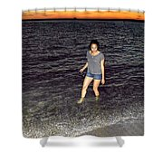 018 A Sunset With Eyes That Smile Soothing Sounds Of Waves For Miles Portrait Series Shower Curtain