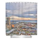 022 Series Of Buffalo Ny Via Birds Eye Downtown Buffalo Ny Shower Curtain