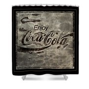 Coca Cola Sign Grungy Red Retro Style Shower Curtain