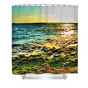 00013 Windy Waves Sunset Rays Shower Curtain