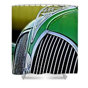 1937 Plymouth Hood Ornament Shower Curtain