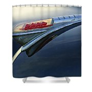 1947 Plymouth Hood Ornament Shower Curtain