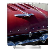 1956 Plymouth Hood Ornament Shower Curtain