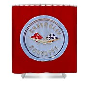 1958 Chevrolet Corvette Emblem Shower Curtain