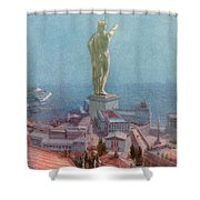 7 Wonders Of The World, Colossus Shower Curtain by Photo Researchers