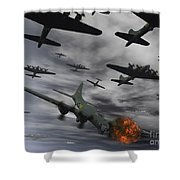 A B-17 Flying Fortress Is Set Ablaze Shower Curtain
