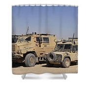 A British Armed Forces Snatch Land Shower Curtain