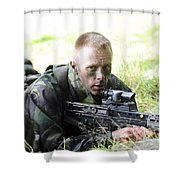 A British Soldier Armed With A Sa80 Shower Curtain
