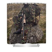 A British Soldier Armed With A Sniper Shower Curtain