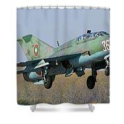 A Bulgarian Air Force Mig-21um Jet Shower Curtain by Anton Balakchiev