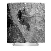 A Caucasian Women Rock Climbing Shower Curtain