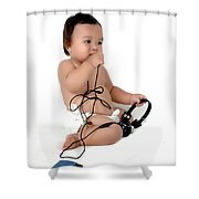 A Chubby Little Girl Sit With A Vintage Camera Shower Curtain