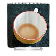 A Cup With The Remains Of Tea On A Green Table Shower Curtain