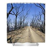 A Dirt Road Runs Along A Mountain Top Shower Curtain