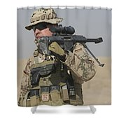A German Soldier Carries A Barrett Shower Curtain