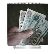 A Hand Holds Egyptian Pounds In Cash Shower Curtain