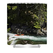 A Kayaker Paddles In A Rapid As Seen Shower Curtain