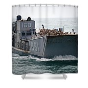 A Landing Craft Utility Transits Shower Curtain