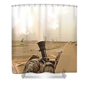 A M120 Mortar System Is Fired Shower Curtain